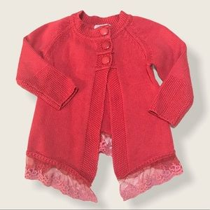 🌺PINK MAGMI Coral Lace Hem Button Front Cardigan